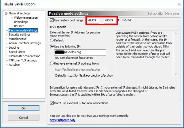 filezilla server passive mode setting